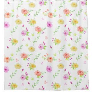 水彩画ばら色パターンシャワー・カーテン シャワーカーテン