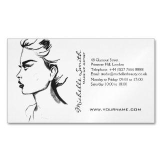 水彩画インク白黒女性の化粧 マグネット名刺