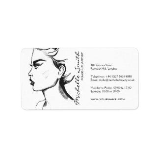 水彩画インク白黒女性の化粧 ラベル