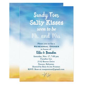 水彩画サンディはリハーサルの夕食の空及び砂をつま先で触ます カード