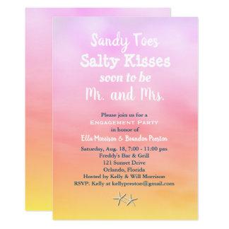 水彩画サンディは婚約パーティの日没をつま先で触ます カード