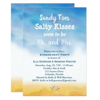 水彩画サンディは婚約パーティの空及び砂をつま先で触ます カード