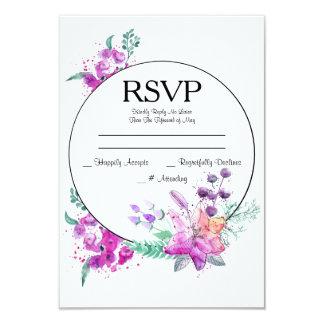水彩画ユリのピンク及び紫色の結婚RSVPカード カード