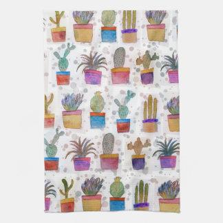 水彩画手のペンキのサボテンパターン キッチンタオル
