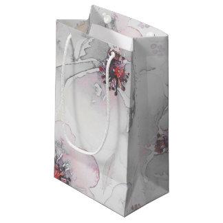 水彩画灰色のピンクの花のBohoは結婚式に羽をつけます スモールペーパーバッグ