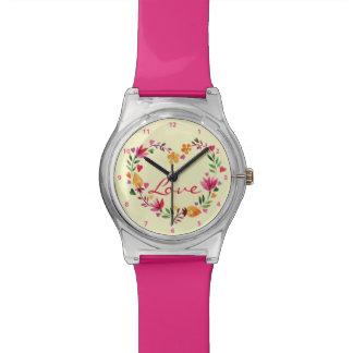 水彩画花愛ハートのリース 腕時計