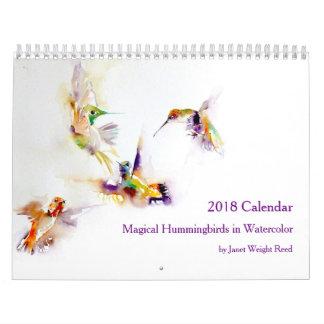 水彩画2018年の魔法のハチドリ カレンダー