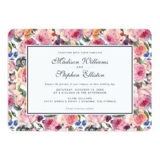 水彩画|の英国のバラ-結婚式 カード