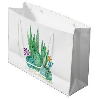 水彩画、サボテン、succulents ラージペーパーバッグ