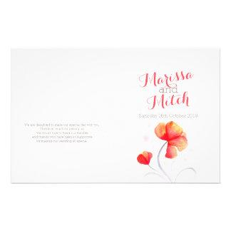 水彩画|野生の花|オレンジ|灰色|結婚|プログラム チラシ