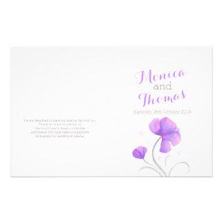 水彩画|野生の花|紫色|灰色|結婚|プログラム 14CM X 21.6CM チラシ