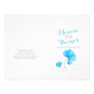 水彩画|野生の花|青い|大きい|結婚|プログラム 21.6CM X 27.9CM チラシ
