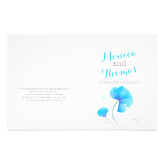 水彩画|野生の花|青い|灰色|結婚|プログラム 14CM X 21.6CM チラシ