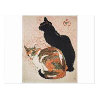 水彩画- 2匹の猫- ThéophileアレグサンダーSteinlen ポストカード