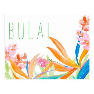 水彩画Bula熱帯極楽鳥! フィージー ポストカード