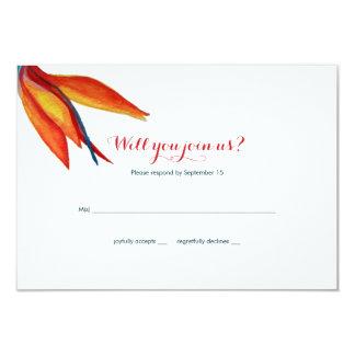 水彩画RSVPの結婚式極楽鳥 カード
