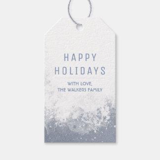 水彩画Snowyは幸せな休日をはねかけます ギフトタグ