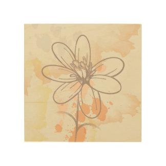 水彩画Splatsのスケッチされた花柄 ウッドウォールアート