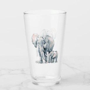 水彩象とふくらはぎの自然アート タンブラーグラス