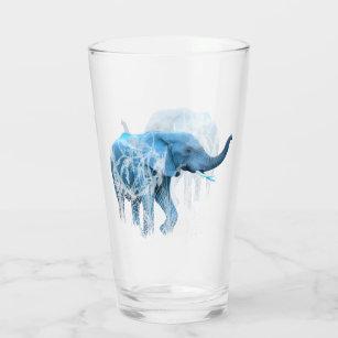 水彩象自然動物用アートグラス タンブラーグラス