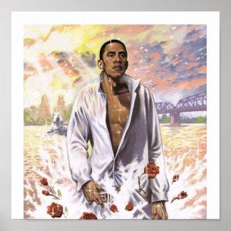水愛国心が強いプリントのバラック・オバマ ポスター