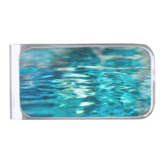水抽象的な青緑のターコイズの水の海 シルバー マネークリップ
