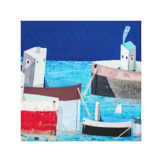 水抽象芸術の落書きのキャンバスの芸術のボート キャンバスプリント