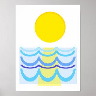 水抽象芸術上の日曜日 ポスター