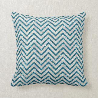 水晶および青いグリッターのシェブロンパターン枕 クッション