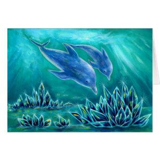 水晶とイルカの海1 グリーティングカード