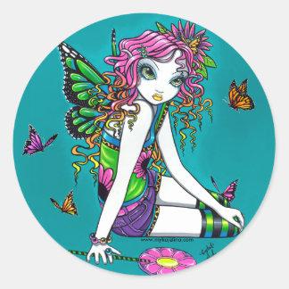 水晶キャンデーの虹の妖精のステッカー ラウンドシール