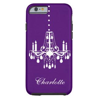 水晶シャンデリアのiPhone 6の堅い紫色 ケース