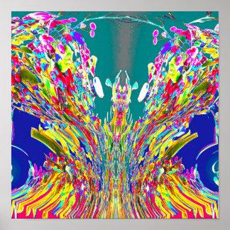 水晶デザインデジタルエネルギー流れの霊気のマスター ポスター