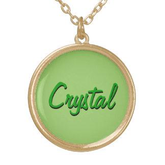 水晶ネックレス ゴールドプレートネックレス