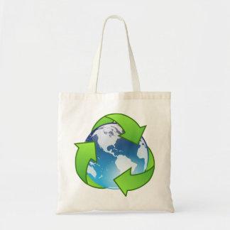 水晶地球の地球のリサイクルアイコン トートバッグ