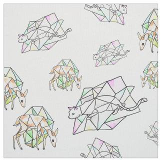 水晶猫およびシカのモダンで幾何学的な生地 ファブリック
