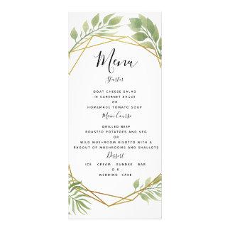 水晶緑の草木の結婚式メニュー群葉のテンプレート ラックカード