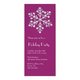 水晶雪片の休日の招待状(マゼンタ) カード