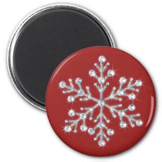水晶雪片の磁石(赤い) マグネット