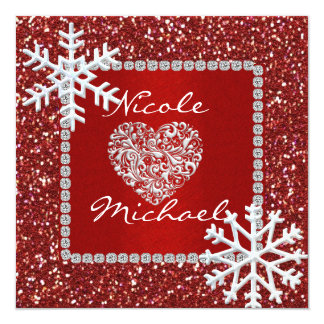 水晶雪片の結婚式招待状 カード