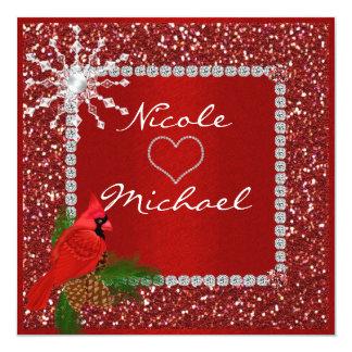 水晶雪片を持つ休日の結婚式招待状 カード