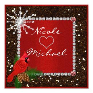 水晶雪片を持つ結婚式招待状 カード