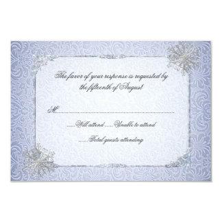 水晶青い雪片の結婚式の応答カード カード