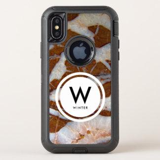 水晶静脈の石の質のプリントが付いているチャート オッターボックスディフェンダーiPhone X ケース