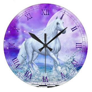 水柱時計の銀製のユニコーンの踊り ラージ壁時計