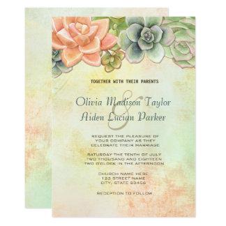 水気が多い水彩画の花の結婚式のモモ 12.7 X 17.8 インビテーションカード