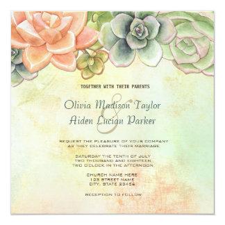 水気が多い水彩画の花柄の結婚式招待状 カード