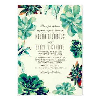 水気が多い花束-花のティール(緑がかった色)の婚約パーティ 12.7 X 17.8 インビテーションカード