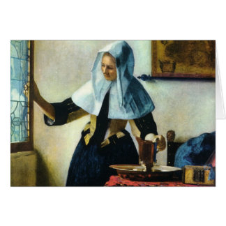 水水差しカリフォルニア1665年を持つVermeerの若い女性 カード