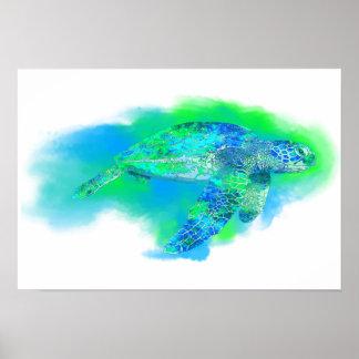 水泳のウミガメ ポスター
